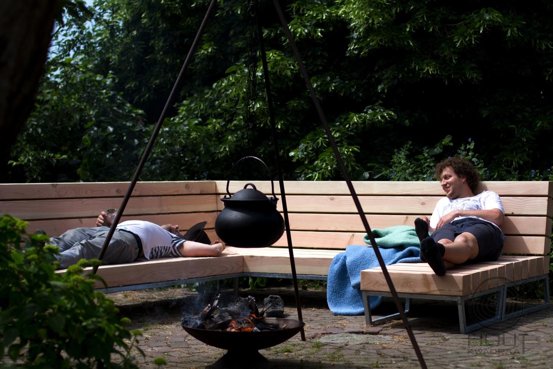 Unieke design loungebank voor in de tuin houtkwadraat - Tuin met openlucht design ...
