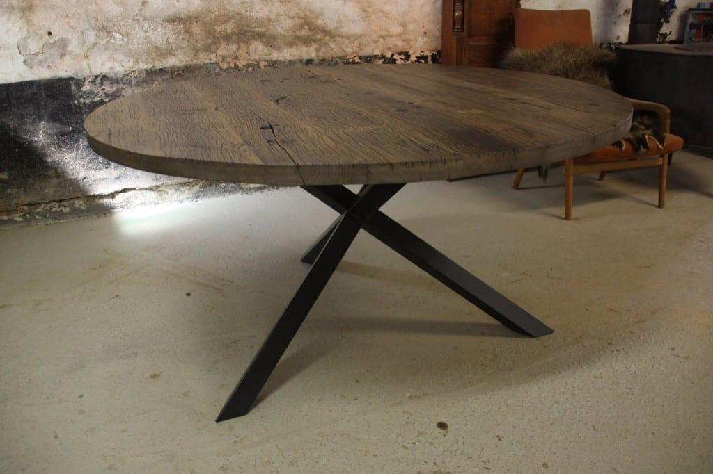 Ronde Tafel Industrieel : Industriële eettafel op maat meubelmakerij houtkwadraat