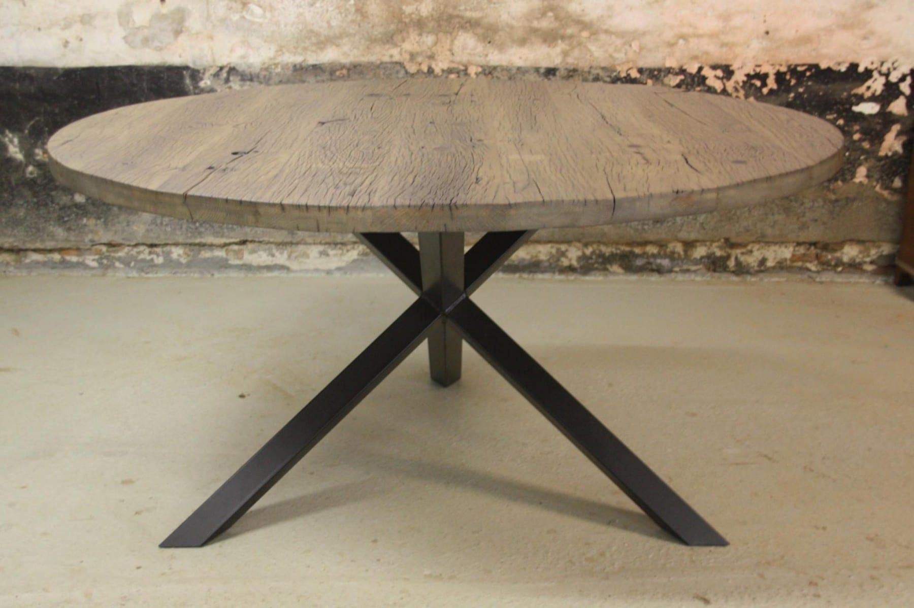 Industriele ronde tafel oud wagon hout stalen onderstel