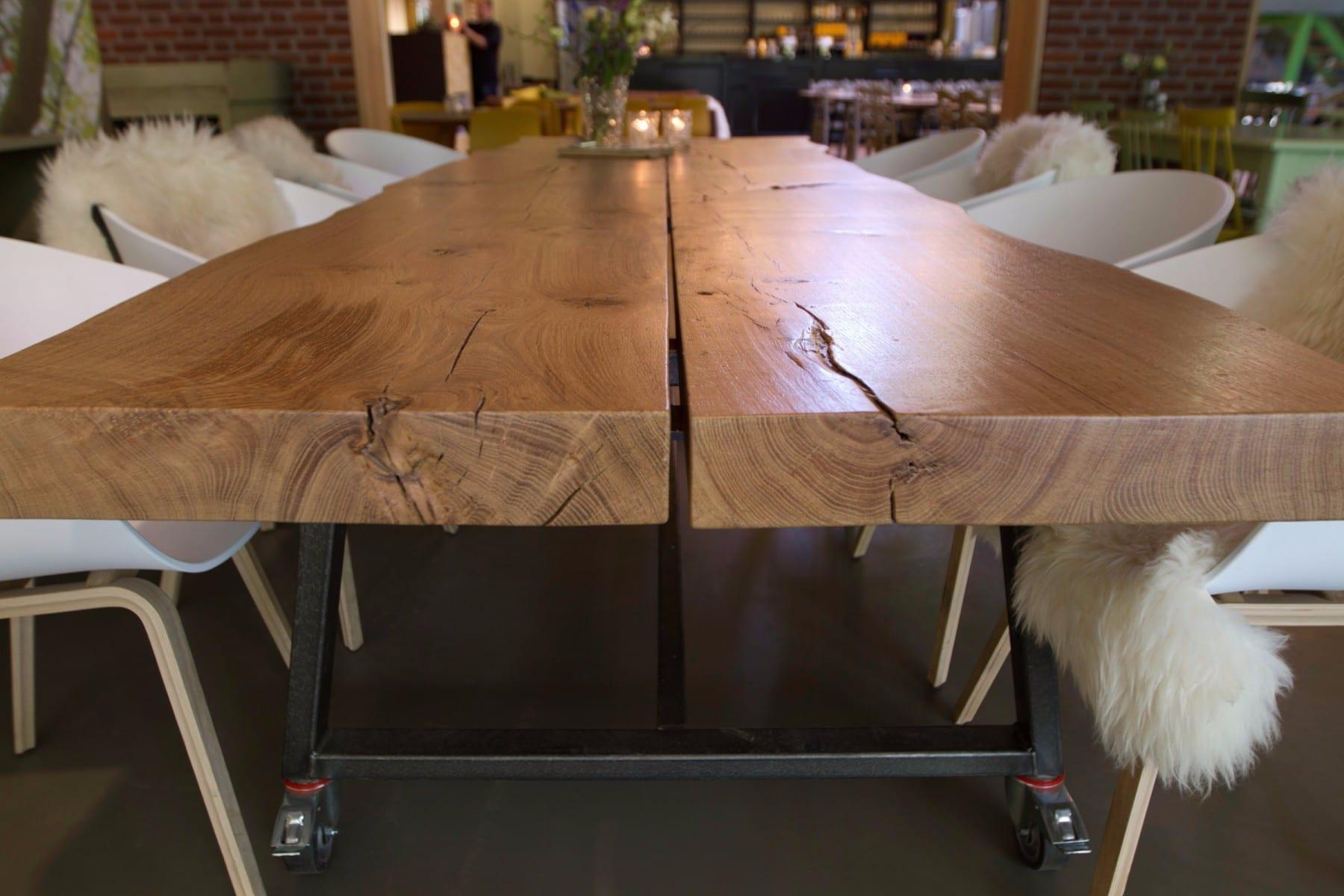 Houten Boomstam Tafel : Boomstamtafel op maat meubelmakerij houtkwadraat breda