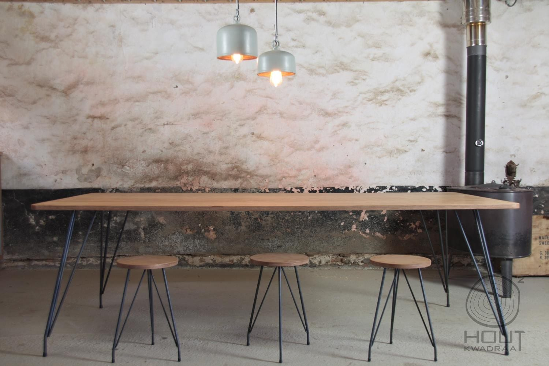 Houten tafel met stalen frame   Meubelmakerij   Houtkwadraat